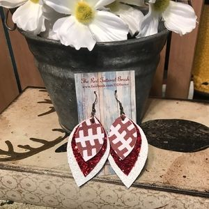 Faux Leather Earrings Football White Red glitter